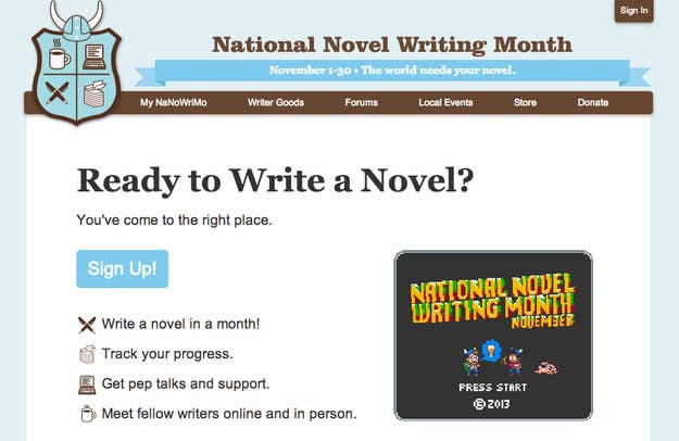 Nanowrimo.org is where you begin your quest. There you can sign up, track your progress, and read pep talks from famous authors.