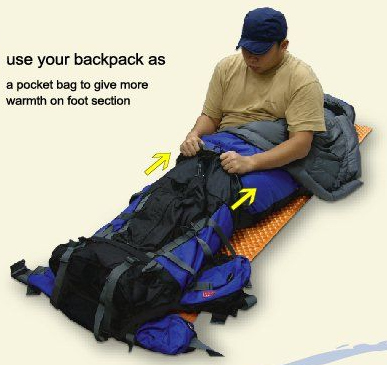 Use your backpack as a foot cover.