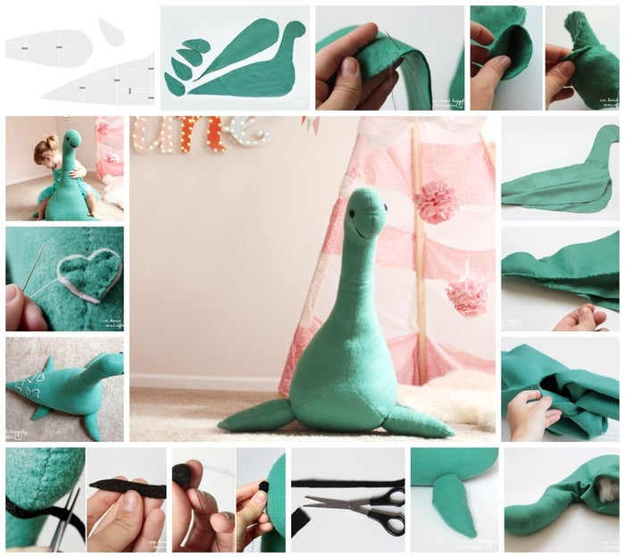 How adorable is this giant Loch Ness monster? Created by Hannah from We Lived Happily Ever After, it measures 1 1/2 feet tall and 3 feet wide, perfect for a nursery or for fun in any room of the house.Materials: 1 1/2 yards of felt for the body (you can make it with just 1 yard, but it never hurts to get a little more than you need), a small sheet of pink felt for the patches (the small sheets they sell for about 30 cents), a small sheet of black felt for the eyes and the mouth, stuffing (a great alternative to expense poly fill is to buying an inexpensive pillow and using the stuffing from that), and threads to match. 1. Download this pattern piece. Print and cut out the pages, then attach all of the pieces together.2. Cut out the pattern pieces from the felt. You need 8 flippers, 1 belly piece, and 2 body pieces.3. Stitch all of the 8 flippers together in pairs of two to make a total of four flippers. Make sure to leave a small opening on the curved edge of the flipper so you can turn it inside out and stuff it. 4. Turn the flippers right side out through the opening you left.5. Place both of your body pieces on top of each other, and lift up the bottom part. Now lay the belly piece evenly on top of both half's of the body piece.6. Sew the belly piece onto the body pieces.7. Sew up the rest of the body, leaving an opening at the neck for stuffing. Turn the body right side out through the opening.8. Time to stuff Nessie. Fill the neck and tail first. You want to make sure to really stuff the neck super well so that it will stand up straight and be supported. Once you are done stuffing it, sew up the opening. 9. Fill your flippers with stuffing, and then position them on Nessie's body. For the two flippers on each side, make them both face away form each other, pointing out. Slip stitch the flippers to the body.10. From the black felt, cut out two rectangles for the eyes, and one long strip of fabric for the smile.11. Roll the rectangles into ball shapes and sew the