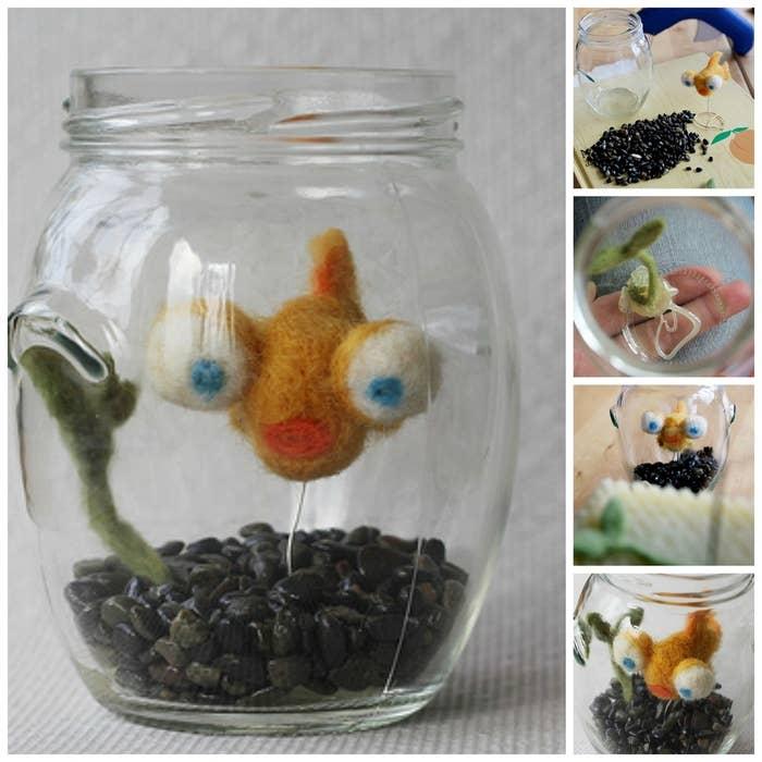 Dieser Post zeigt Dir, wie Du einen kleinen Filz-Fisch im Glas basteln kannst.