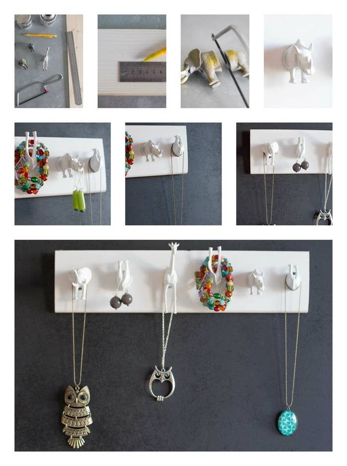 This wild animal jewelry hanger looks amazing against an accent wall. Angelique from Le Marche Eclectique shows us how to make it.Supplies: a wooden plank, some plastic animal toys, a little handsaw (or very sharp knife), white spray paint (or another color if you prefer), glue, a ruler, and a pencil.1. Draw a line in the middle of the wooden plank with the pencil; this will act as a guiding line for where to place your animals.2. Cut plastic toys in the middle with the handsaw. Don't worry, plastic toys are really easy to cut!3. Follow the drawn line to stick the halved plastic toys on the wooden plank. Add glue and press the toys firmly so they stick, then allow to dry.4. Paint the plank and toys with white spray paint. Allow to dry.Done! Simply hang your jewelry on the animal hooks.