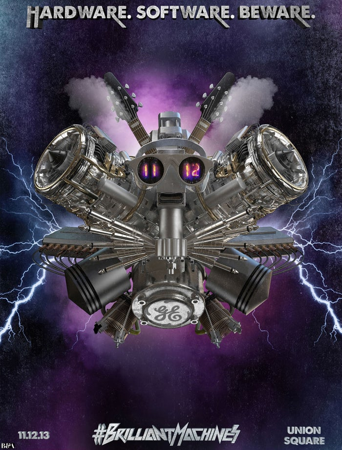 """Compressorhead """"is comprised of three 5 foot tall humanoids: Stickboy on drums, Bones on bass, and Fingers as lead/rhythm,"""" according to a press release."""