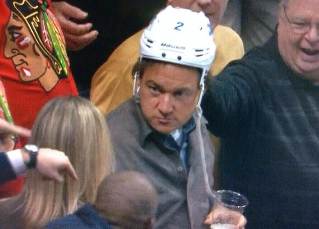 Hammered Drunk Hockey Fan Steals Players Helmet, Loses Beer-6601