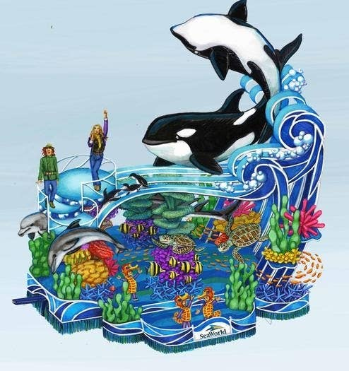 A drawing of the design for SeaWorld's Macy's parade float.