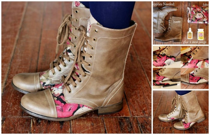 Add an accent of fabric on one area of a pair of boots. You can use floral like these bloggers or a more seasonal print.