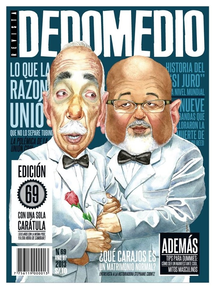 A magazine cover portrays Carlos Bruce, a Peruvian congressman (right), as marrying a leading opponent of his civil union bill.