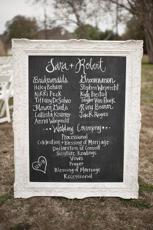 Guests never really know what to do with their paper programs after the ceremony anyway. Eliminate waste by painting over a large, salvaged mirror with chalkboard paint.