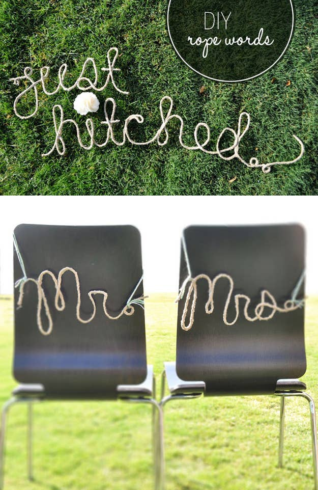 All you need is jute, Elmer's glue, and corn starch to create these stiff rope letters.