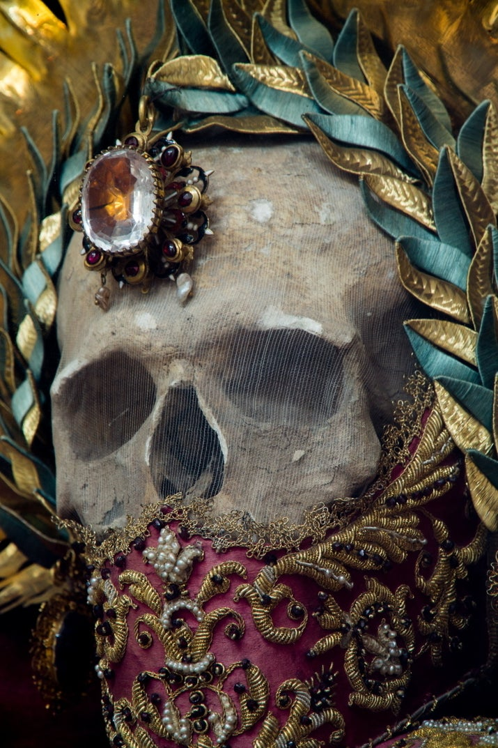 """One of the most famous of the jeweled skeletons, he was a popular healing saint, and his relic was said to even have the power to raise dead children."""