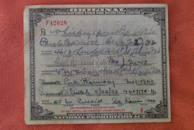 Another piece of history from prohibition, this pharmacy prescription was good for one pint of whiskey. ($24.95)