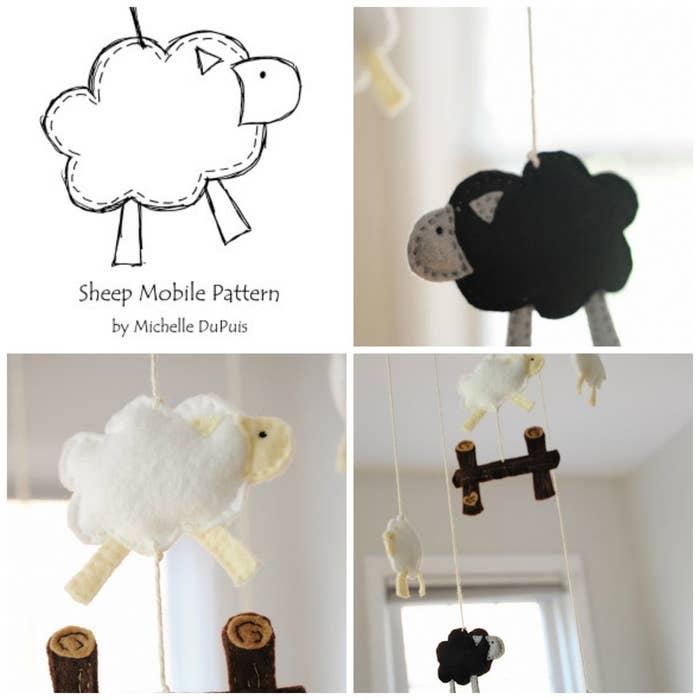 Mit dieser Vorlage kannst Du ein Schaf-Mobile machen –für noch schönere Träume.