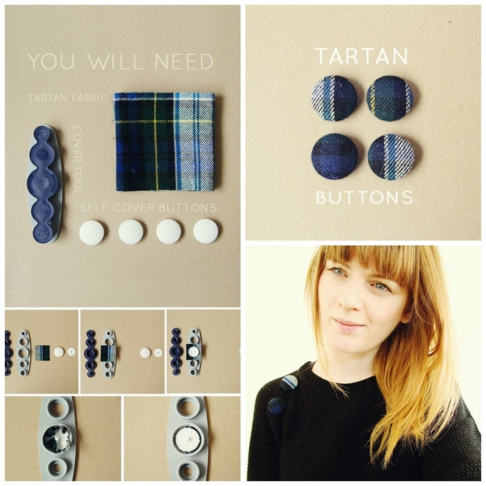 This post shows you how to cover buttons in tartan fabric for an easy way to add pizzazz to your cold weather wardrobe.