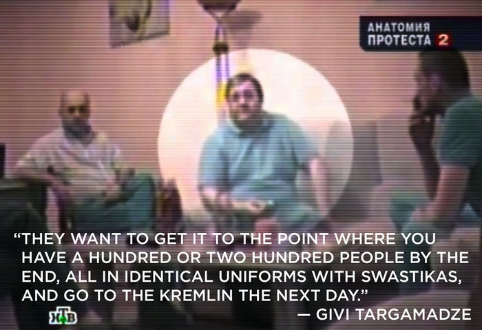 Gigi Targamadze, highlighted in the center, on hidden camera footage showing a purported meeting between Targamadze and four anti-capitalist Russian activists led by Left Front leader and opposition figurehead Sergei Udaltsov.