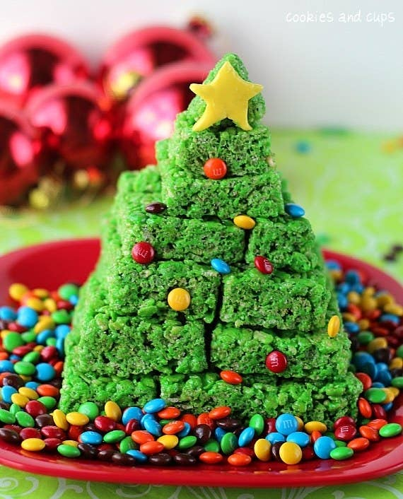 If a sugar cookie tree is too much, try this much easier rice krispie version. Instructions here.
