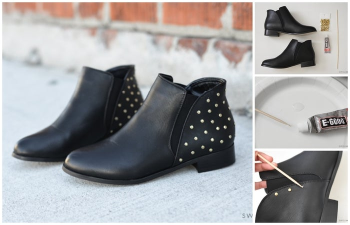 This tutorial is an easy way to upgrade plane black boots with flat-backed studs and some glue.