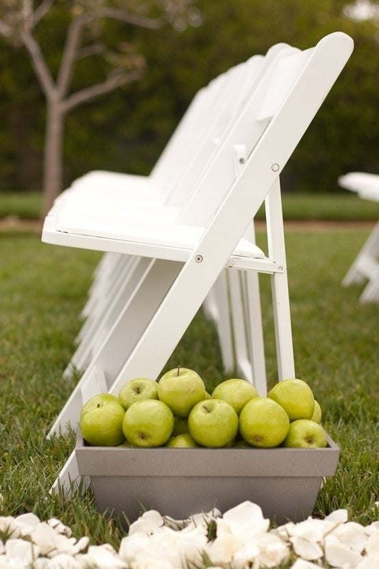 Perfect for a fall wedding. Fill planters with apples and line the aisle with them.