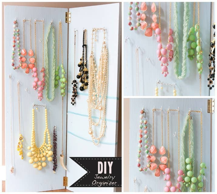 25 clever diy ways to keep your jewelry organized spray paint two planks of wood attach them with hinges add hooks and solutioingenieria Image collections