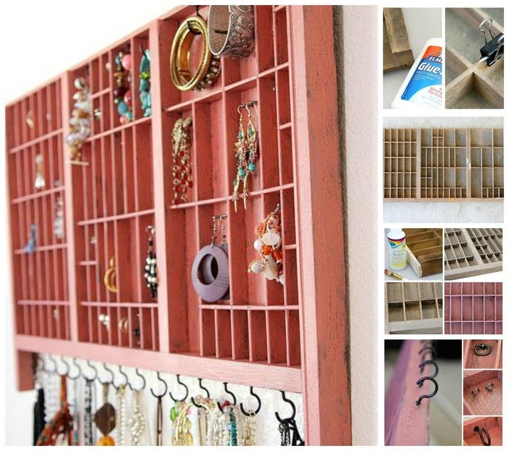 25 clever diy ways to keep your jewelry organized 24 repurposed tray solutioingenieria Choice Image