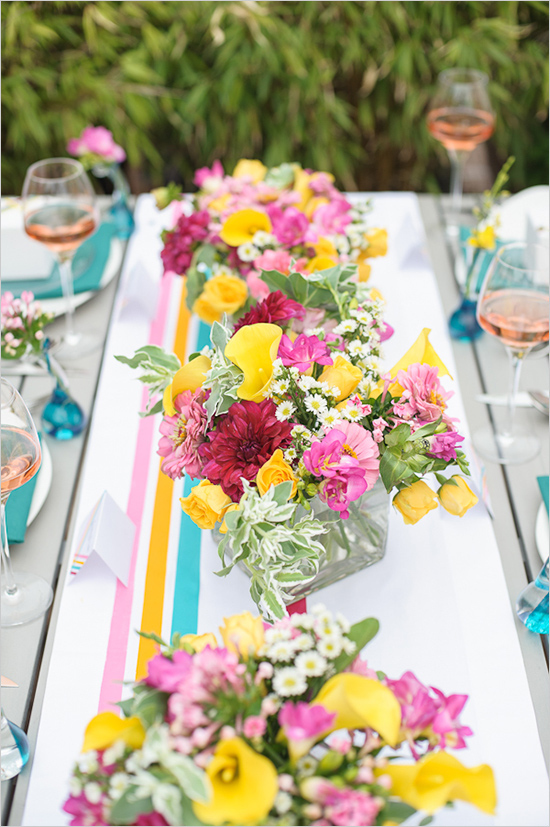 washi tape table runner and backdrop