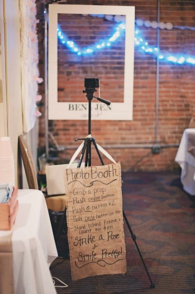 Hang up a simple frame, or use a salvaged frame for an impromptu photo booth.