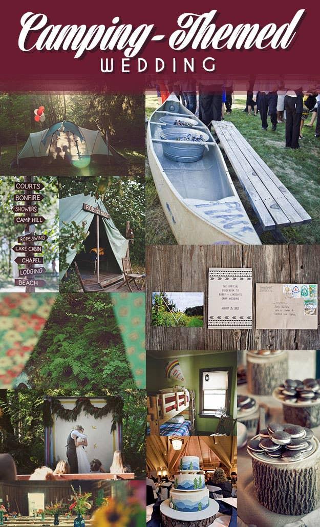 The perfect setting for an outdoorsy summer wedding.Summer Camp Wedding   Canoe CoolerCamping-Themed WeddingMountain Cake   Log Dessert Stands