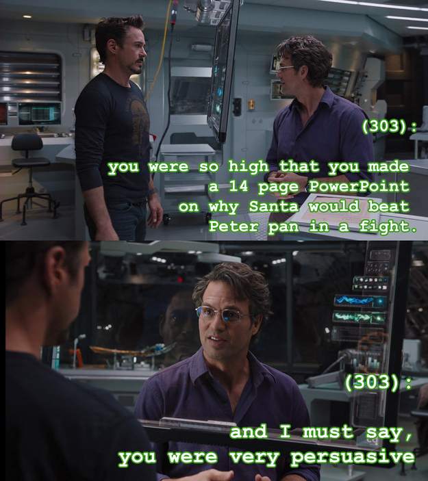 A smorgasbord of sassy texts from The Avengers.