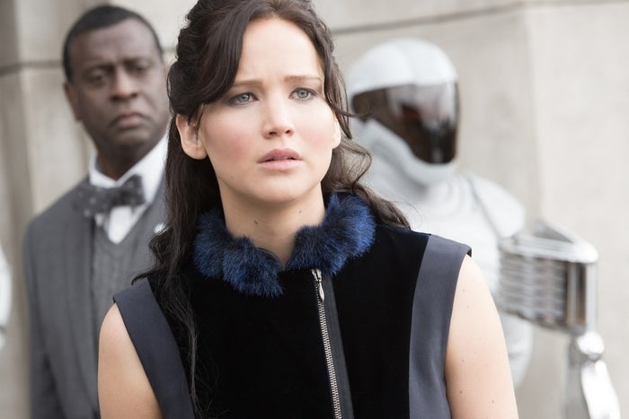 Pretty much from her arrival in District 13 — an almost entirely subterranean society run as a kind of rebel commune by the no-nonsense President Coin (Julianne Moore) — Katniss (Jennifer Lawrence) collapses into a paralyzing state of PTSD-driven depression at the loss of Peeta (Josh Hutcherson) to the Capitol. Rather than take an active role in freeing Peeta — or in, really, anything at all — Katniss instead miserably allows herself to become a propaganda puppet of Coin and Plutarch Heavensbee (Philip Seymour Hoffman). For a long stretch of the book, the only time Katniss demonstrates anything close to what one would describe as classic heroic behavior is while visiting a hospital in District 8, and that's only after it's attacked by the Capitol.This is troubling enough in Collins' book — it's difficult to sympathize with Katniss as her inner-monologue comes off as increasingly self-involved, as psychologically understandable as it may be. But for a feature film built around an aspirational figure heretofore defined by her willingness to be quite literally the girl on fire, it's deadly. Everyone remember how unspeakably boring it was to watch Neo, Morpheus, and Trinity sit around in The Matrix Revolutions? Everyone who actually saw that movie, I mean? Yeah. Not good.Possible solution: Give Katniss more to do, like perhaps lead the team that invades the Capitol to rescue Peeta, Johanna (Jena Malone), and Annie Cresta (Stef Dawson), the fragile beloved who holds the heart of Finnick Odair (Sam Claflin).