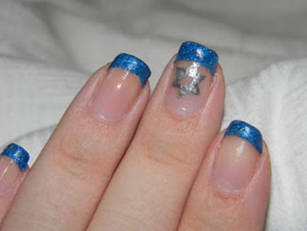11 A French Manicure In Holiday Colors