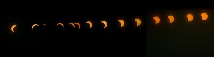 This combination image shows the transition from right to left of a hybrid solar eclipse seen over Lake Oloidien in Kenya.