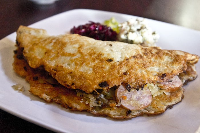 A thin pancake made with grated onion, carrot, parsnips or other vegetables. Delicious served hot either sprinkled with sugar or dolloped with sour cream.