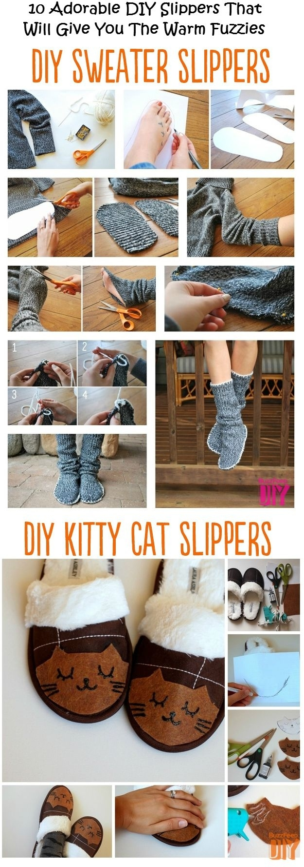 Turn your old sweater into slippers . . . regular or kitty cat.