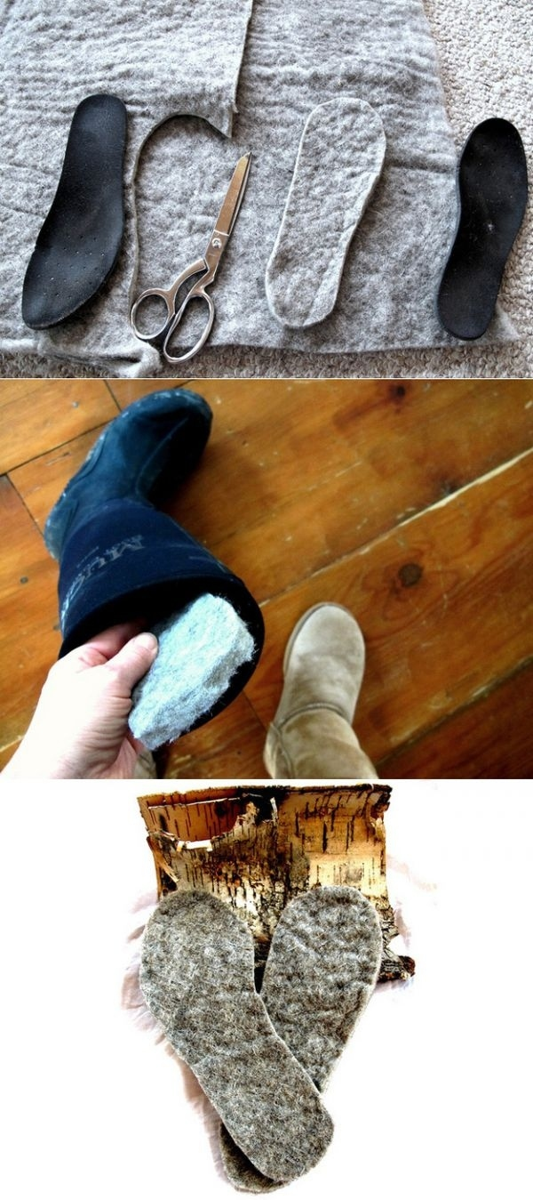 Cut out wool insoles for extra warmth.