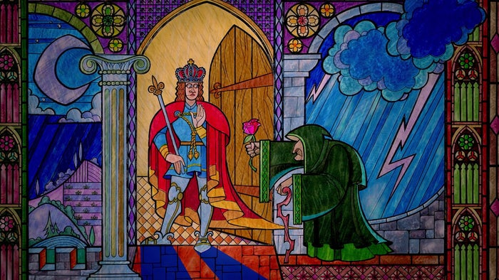 Beautifully depicted in the film's stained glass opening montage, Prince Adam turns away the old beggar woman when she offers a paltry rose for shelter from the cold.QUESTION: Don't you have people for that?How odd/cute for the Sovereign Prince to be answering his own damn door in the middle of the night. Perhaps his general bad attitude — which famously gets him into serious shit mere seconds later — keeps him up late, angrily checking up on his servants, making sure they're doing their jobs? Whatever the reason, you can be sure that in the subsequent decade he's cursed the name of whatever household guard was supposed to be on Front Door Duty that night. But in all fairness, that person has probably had it bad enough being transformed into an umbrella stand or a hat rack for the audacious crime of having a dick for a boss.