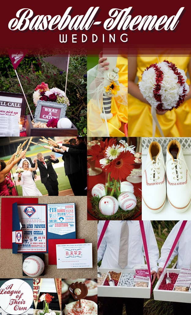 """A sports-themed wedding doesn't have to be garish. These examples show how elegant a baseball wedding can be.""""What a Catch""""   Flower GirlBaseball Bats   Baseball Centerpiece   Baseball Shoes   Invitations   Vendors   A League of Their Own Wedding"""