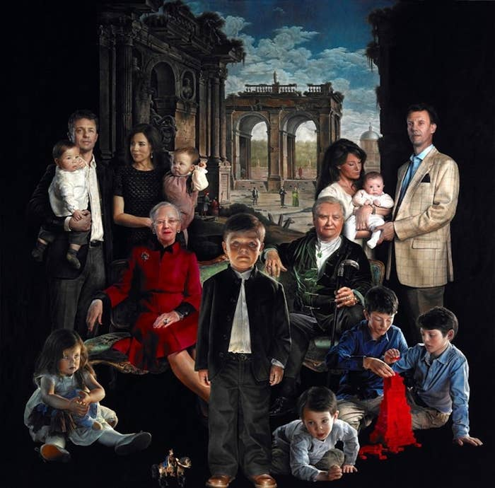 Prince Christian, the second heir to the throne, stands at the painting's center. Queen Margrethe II and her husband Henrik, the Prince Consort are seated on the couch. Princess Isabella is seated to the queen's left. Above her, Crown Prince Frederik and Crown Princess Mary hold their twin son and daughter, Prince Vincent and Princess Josephine. Prince Joachim and Princess Marie are on the right side of the couch — Princess Marie is holding their daughter Princess Athena. Their son, Prince Henrik, crawls behind Prince Christian, while Crown Prince Joachim's two sons from a previous marriage, Prince Nikolai and Prince Felix build a tower of blocks together.