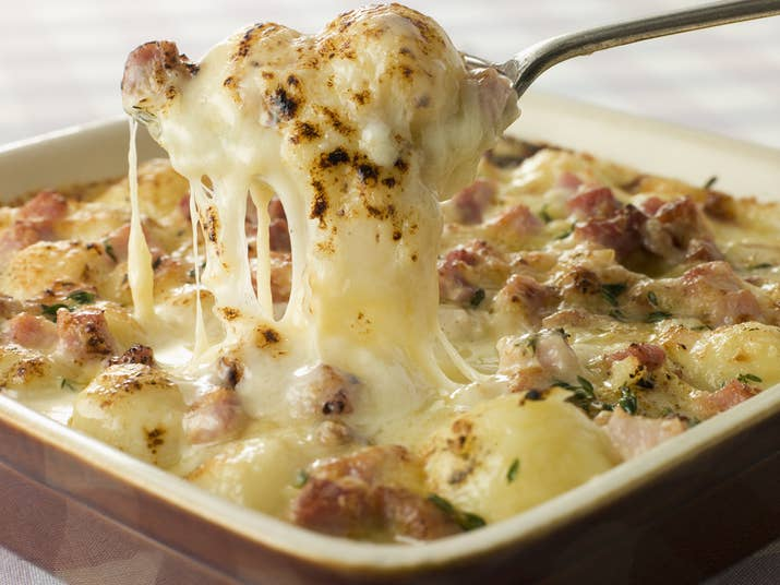 A luxurious potato dish from the French Alps made with melted cheese, lardons (French bacon), and onions. Do you really need more convincing? Here is Anthony Bourdain's recipe.What to drink: A white wine from Savoie.For dessert: A baba au rhum, a rum-soaked dessert. Here is the recipe.