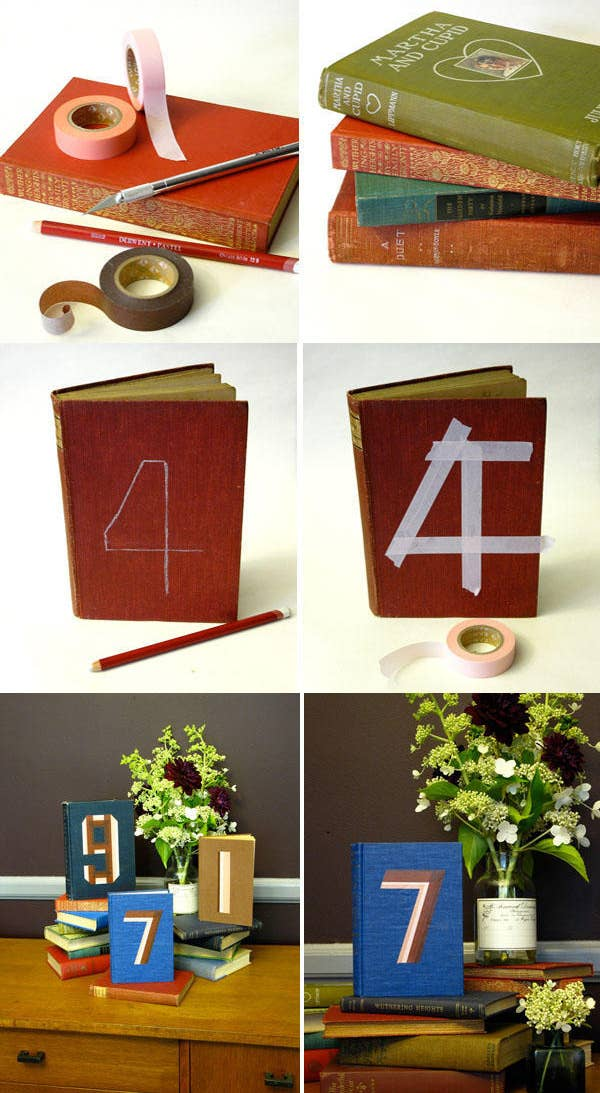 Since you're just using washi tape, no actual books will be harmed in the process. Full tutorial here.