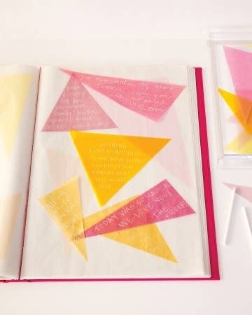 Cut out angular shapes of paper and let your guests affix their own messages to photo album pages.