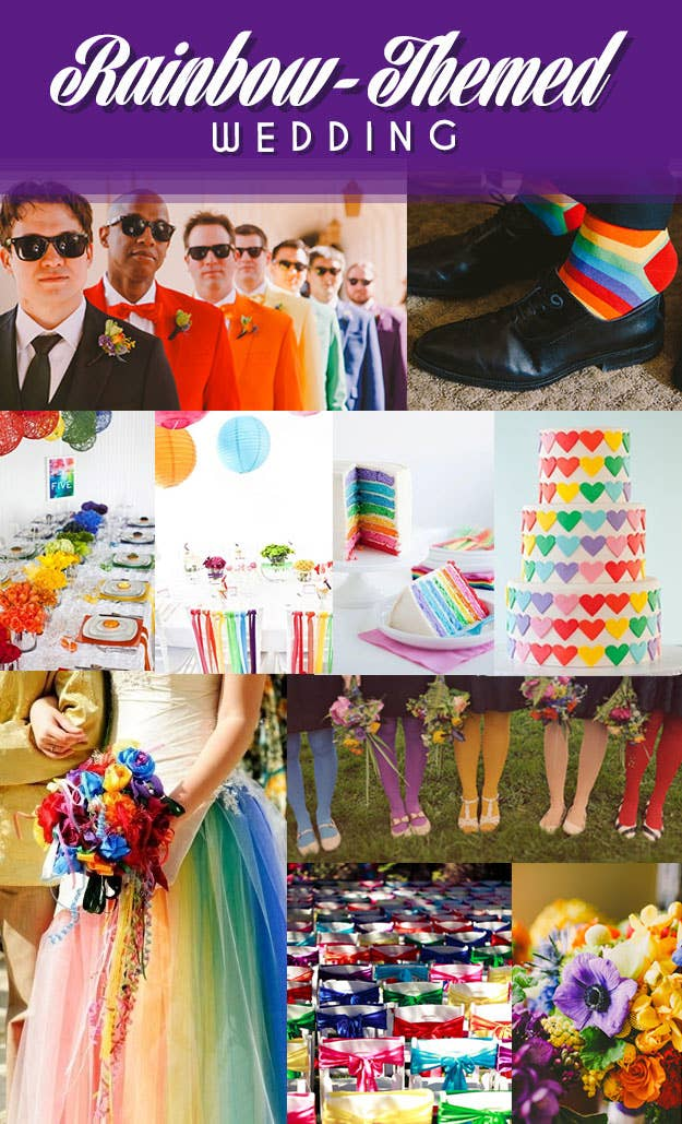For when you can't decide on which color is your favorite.Groomsmen   SocksTable Setting   Ribbon Chairs   Rainbow Cake   Heart CakeTulle Dress   Bow Chairs   Bouquet   Colorful Tights