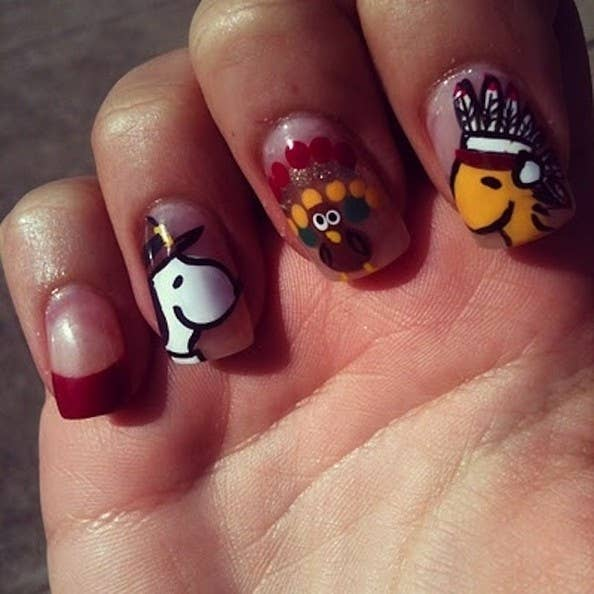 23 snazzy nail ideas for thanksgiving snoopy woodstock and a turkey prinsesfo Gallery