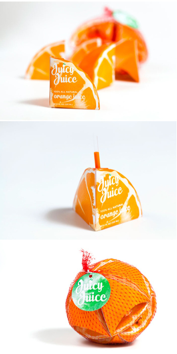 Adorable juice boxes that fit together.