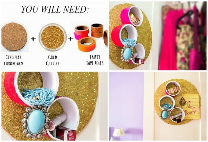 Attach empty tape rolls to a corkboard and you have snazzy circular jewelry cubbies. This post has the details.
