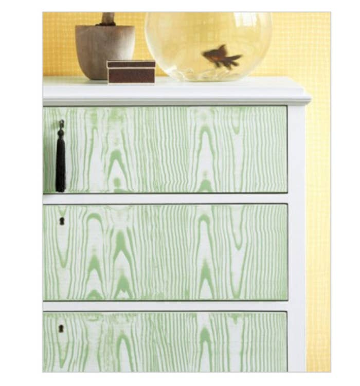 "This project uses an ""embossed paint rocker"" to rock plain white drawers."
