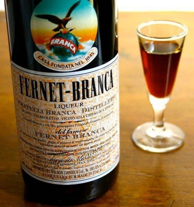 """Fernet-Branca is a dark liqueur with a bitter, black licorice flavor. It was originally invented in Italy in 1845 as a stomach medicine. These days, its actual """"medicinal"""" properties seem suspect — although, lots of people swear that it's a magical hangover cure — but it's a great spirit in its own right, and just a little bit adds a whole lot of flavor to a cocktail."""