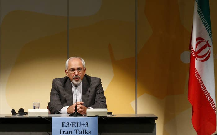 Iranian Foreign Minister Mohammad Javad Zarif addresses a news conference in Geneva.