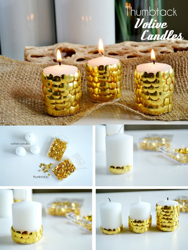 Stick a bunch of metallic thumbtacks into plain white candles to make them instantly party ready! This blogger had the bright idea.