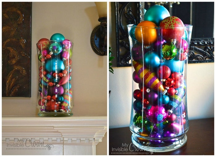 Got leftover ornaments? Stick them in a vase for a quick and pretty centerpiece, as done here.