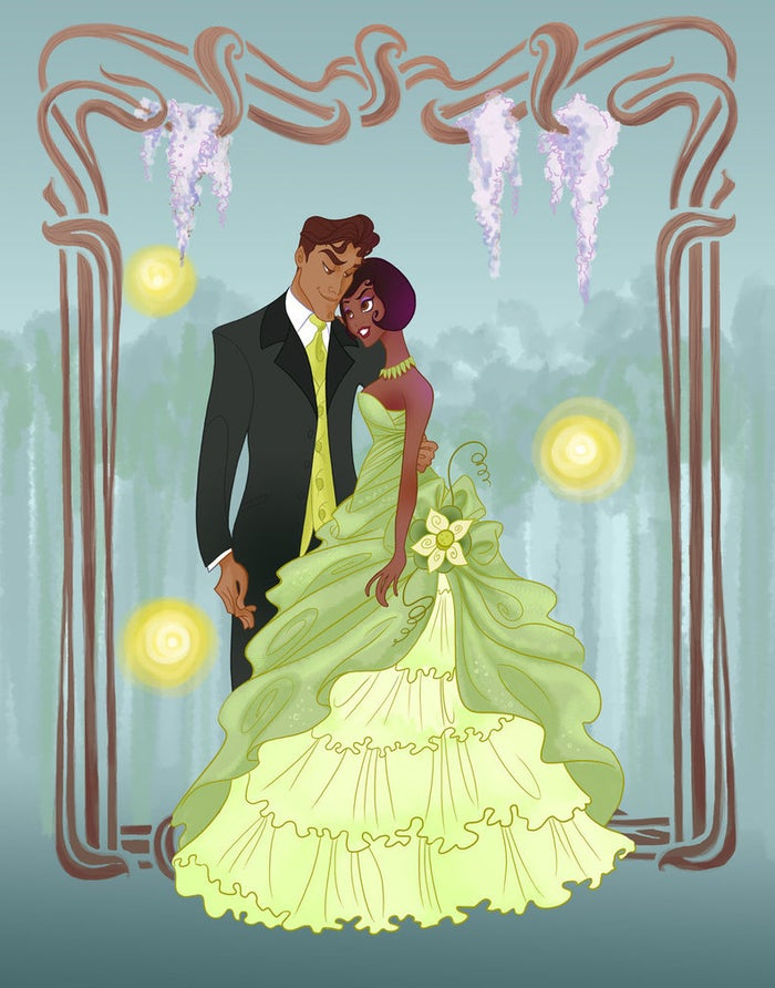 spicysteweddemon is another fan favorite for Disney nerds. She takes the characters we love and makes them go to prom. Her style is fun, fresh and funky. That and the way she designs the princesses' dresses is fantastic! The border is great, along with the hanging flowers and lights. But really, the redesigned dress is what steals the show in this picture.Wanna see more? Check out 14 Disney Couples go to Prom by Donna Dickens whose part of the Buzzfeed staff!