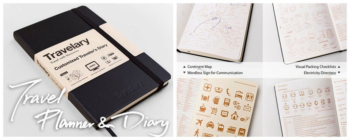 If the Scratch Travel Journal is too kiddy, try the Travelary! The Travelary is a customized travel planner/diary that lists travel tips, major music/local festivals, all countries' time zones and emergency numbers, all socket types, and more! It's the perfect little black book for just $21.95.