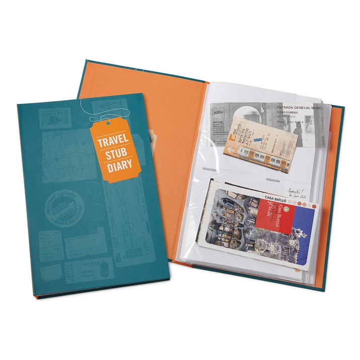 Keep all your ticket stubs, museum passes, and brochures organized in one place with this travel stub diary. There are even spaces in the margins for you to jot down your memories. Not bad for $14.95.